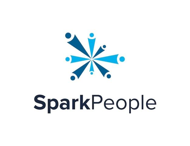 스파크와 사람들 단순하고 세련된 창조적 인 기하학적 현대 로고 디자인