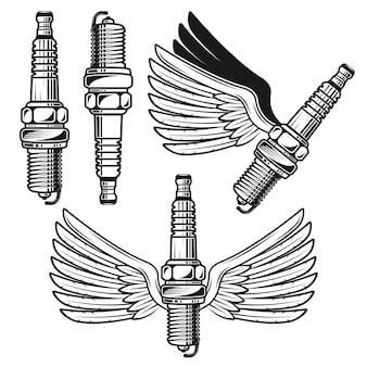 オブジェクトまたは要素の天使のような翼のセットとスパークプラグ