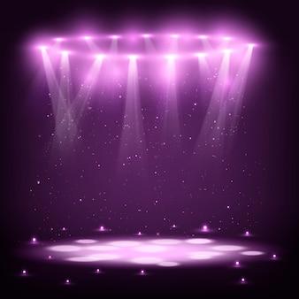 Сцена с прожекторами и spark rain.