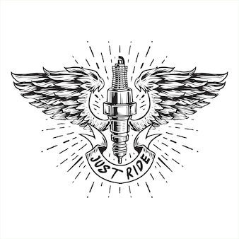 Sparking plug winged line art illustration