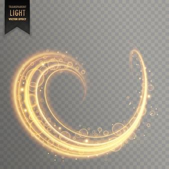 輝きと光の軌跡を金色で