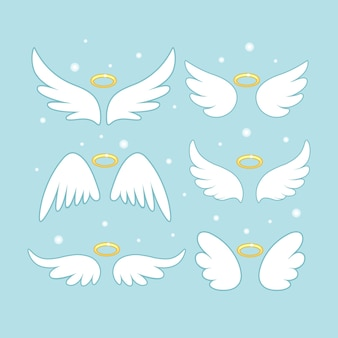 Sparkle angel fairy wings with gold nimbus illustration