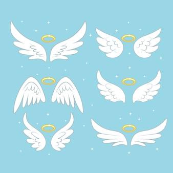 Сверкающие крылья ангела феи с золотым нимбом