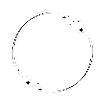 스파클 스타 서클 프레임입니다. 파티, 생일 장식 디자인을 위한 화환 원형 스타더스트 테두리. 월계수 프레임에 우주의 반짝임이 빛납니다. 격리 된 검은 평면 벡터 일러스트 레이 션.