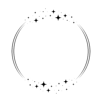 Sparkle star circle frame. wreath round stardust border for party, birthday decor design. laurel frame with, cosmic glitter shine. isolated black flat vector illustration.