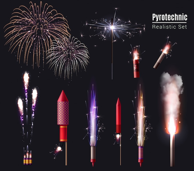 Sparkler bengal lights pyrotechnics realistic set of isolated firework display spots and pyrotechnic devices in action
