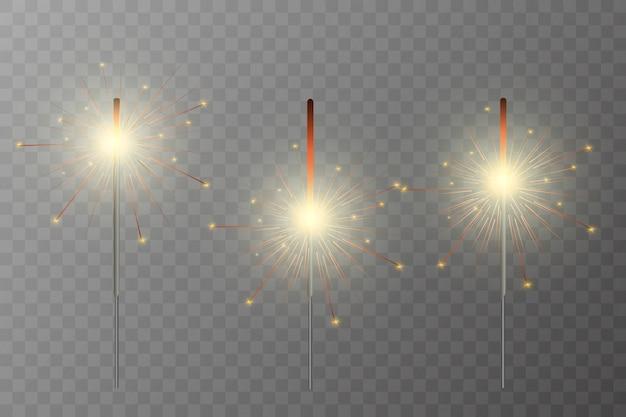 Спарклер. фейерверк сверкает на заднем плане. реалистичный световой эффект.