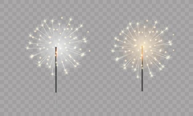 Бенгальские огни золотые и серебряные украшения для баннерной открытки дизайн плаката на новый год 2022