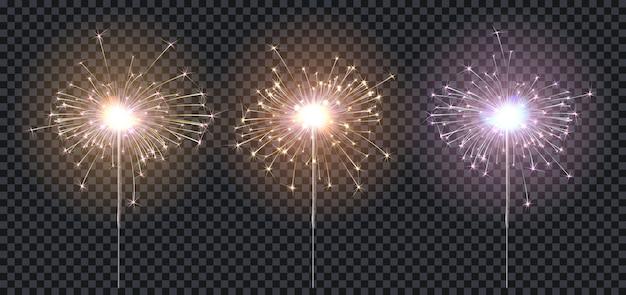 Бенгальские огни или бенгальский огонь, три цвета освещения синий, красный, желтый, элементы праздничного оформления.