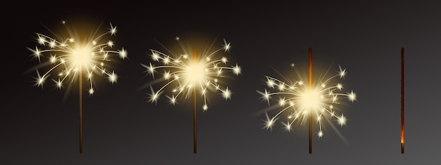 Sparklers set, realistic flares with flames