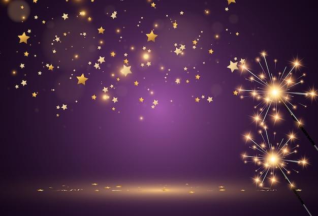 Sparklers on a transparent background.