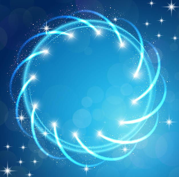 Sparkles blue background with stars round frame