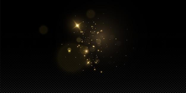 透明な背景の上で輝きます。きらめく魔法のちり粒子。ダストスパークと金色の星が特別な光で輝きます。