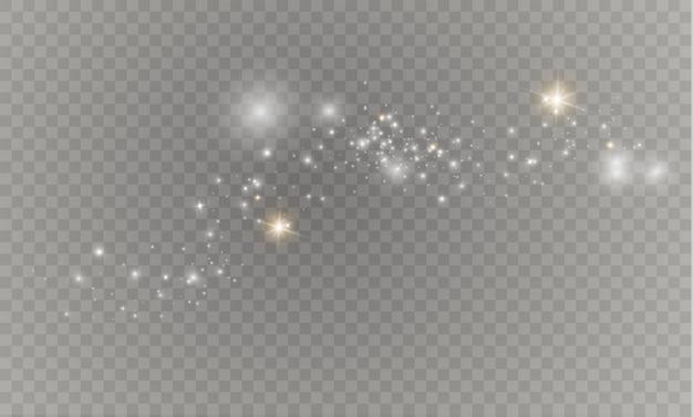 Сверкает на прозрачном фоне. сверкающие частицы волшебной пыли.