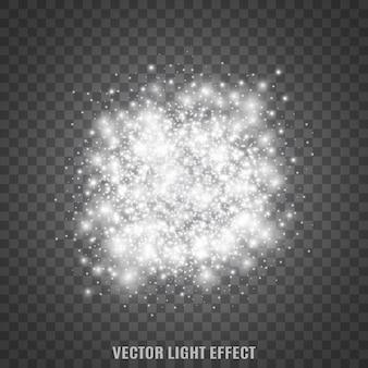 透明な背景の上で輝きます。スターダスト。輝く粒子。フレア。光の効果。 。