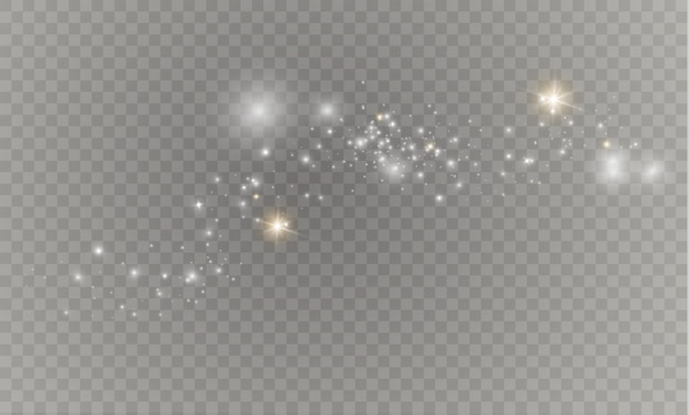 Sparkles on a transparent background. sparkling magical dust particles.