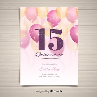 Sparkling balloons quinceanera card template