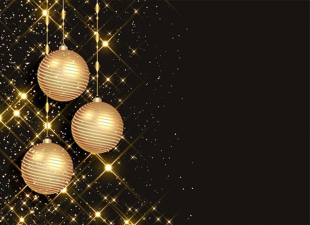 Сверкающие новогодние шары на черном фоне
