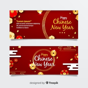 Sparkling coins chinese new year banner