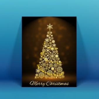 Sparkling decorated christmas tree holiday card on blue flat illustration