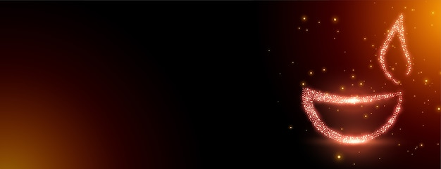 Sparkling diwali diya banner with copyspace