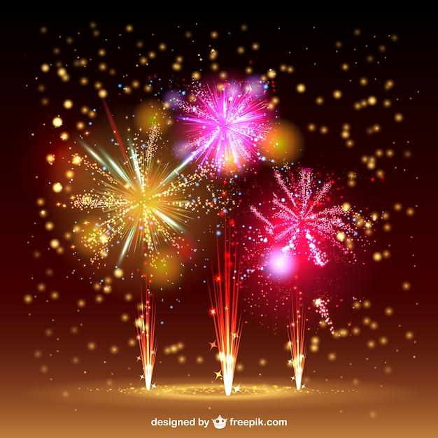 Sparkling fireworks sky