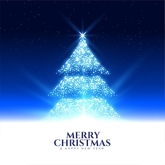 Sparkling glowing christmas tree night scene background