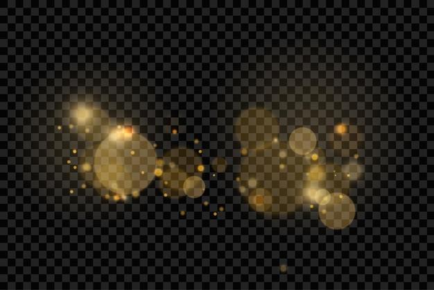 きらめく金色のほこり粒子ボケクリスマススパークルライト効果スパークルイエロースパークスター