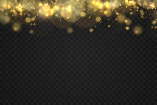 透明な背景に輝く黄金の魔法のほこりの粒子ボケクリスマスの輝きの光の効果輝きの輝きライト黄色のほこりの火花と星の輝きと特別な光のベクトル図。
