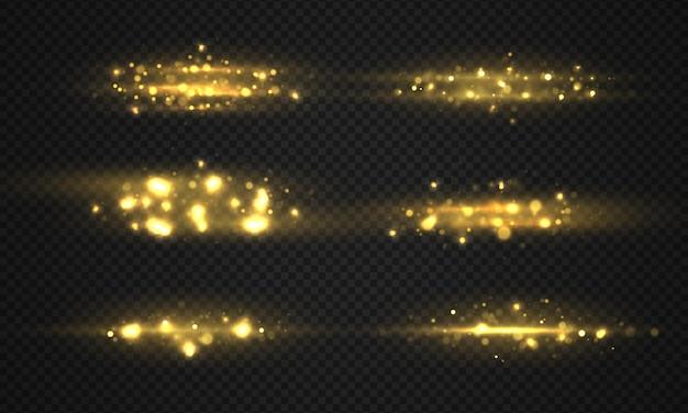 きらめく金色の魔法の粉粒子セット