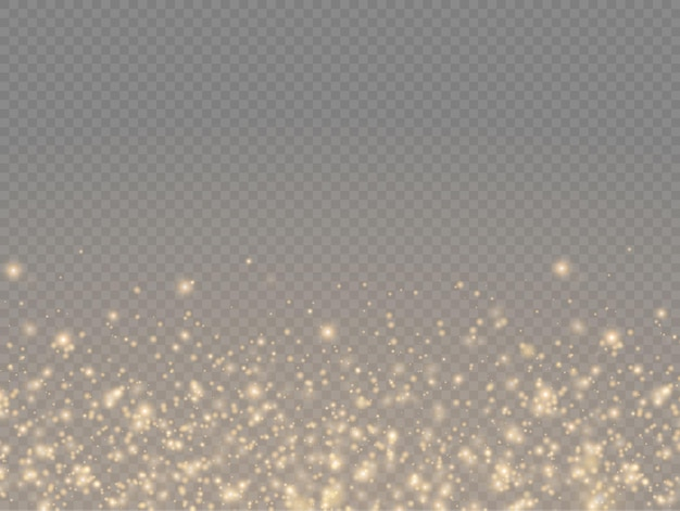 Sparkling golden magic dust particles sparkle shine lights yellow dust sparks and star