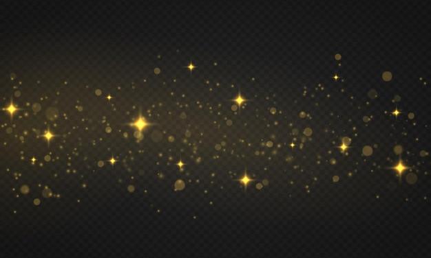 きらめく金色の魔法の粉粒子