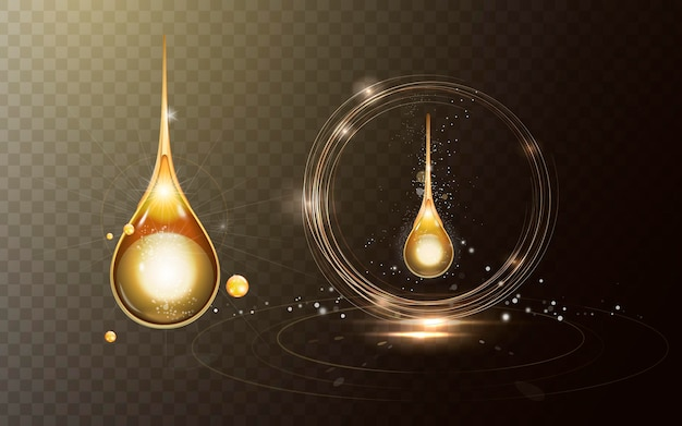 Sparkling golden oil drop with effects isolated on transparent background
