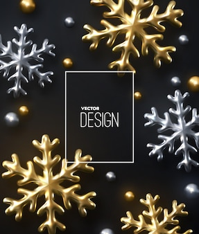 Sparkling golden and silver snowflakes and beads on black background