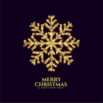 Sparkling golden snowflake merry christmas greeting card