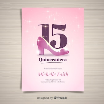 Sparkling heel quinceanera card template