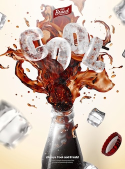 Sparkling iced cola bursting out of glass bottle rim with frozen ice block of the word cool