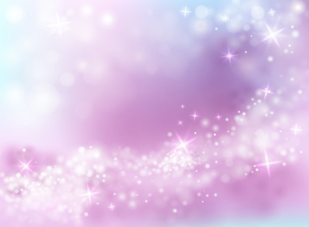 Sparkling light shine illustration of sky purple and blue background with twinkling stars