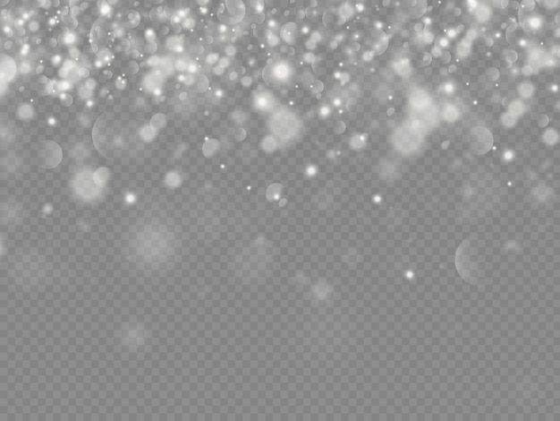 Sparkling magic dust particles bokeh isolated on transparent background, the white dust sparks and star shine with special light, christmas sparkle light effect, shine lights, sparkle
