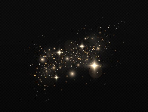 반짝이는 마법의 먼지 입자. 황금 불꽃과 별이 반짝이는 특수 조명 효과.