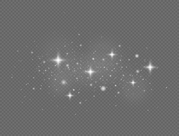 투명 배경에 반짝이는 마법의 먼지 입자