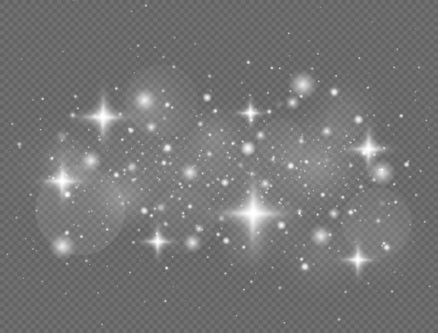 반짝이는 마법의 먼지 입자가 투명 배경에 반짝임