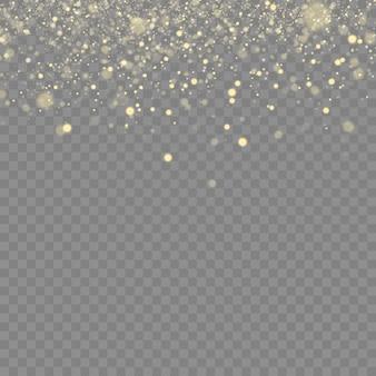 きらめく魔法のちりの粒子。黄色いちりの黄色の火花と金色の星が特別な光で輝きます。透明な背景に抽象的なスタイリッシュな光の効果。抽象的なパターン