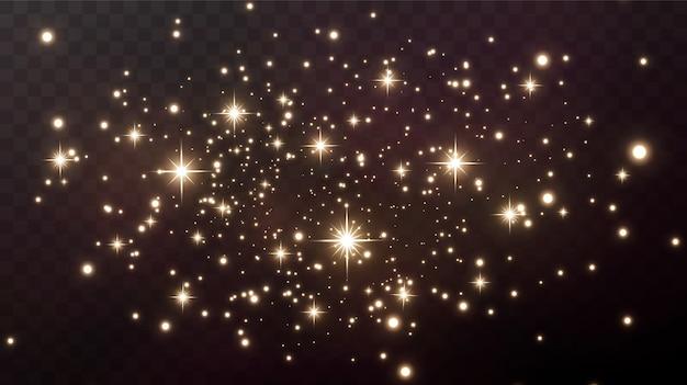 반짝이는 마법의 먼지, 황금빛 반짝이는 먼지 입자. 마법 효과. 황금 별.