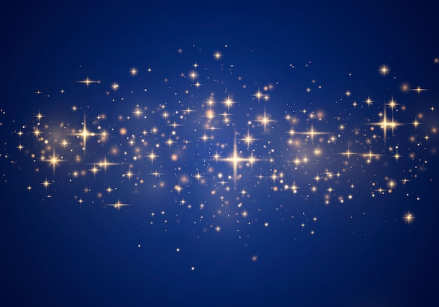 Sparkling magical dust and golden particles on blue background.