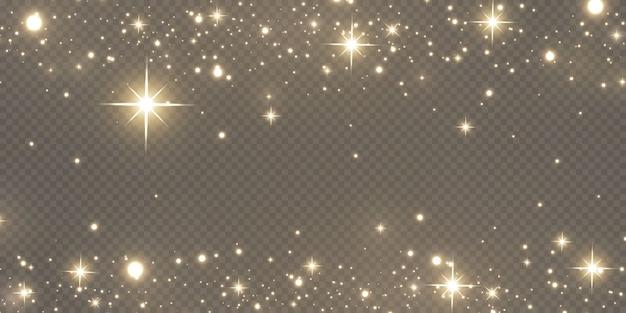 輝く魔法の粉。テクスチャの黒と白の背景。黄金のきらびやかなダスト粒子で作られたお祝いの抽象的な背景。魔法の効果。金色の星。お祭り。