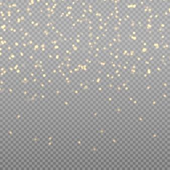 きらめく魔法のほこりの粒子。ボケ効果。クリスマス。光るライト。