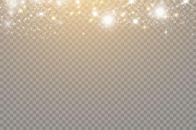 きらめく魔法のほこりの粒子。透明な背景に分離されたボケ効果。クリスマスのコンセプト。光の抽象的な光るボケライト。お祝いの紫と金色の明るい背景。