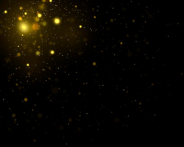 Sparkling magical dust particles defocused yellow lights glowing yellow bokeh circles vector