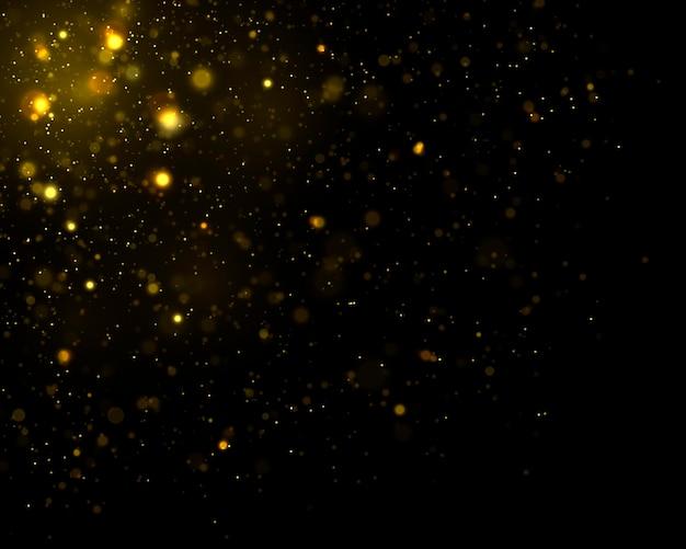 Сверкающие волшебные частицы пыли расфокусированные желтые огни светящиеся желтые боке круги вектор